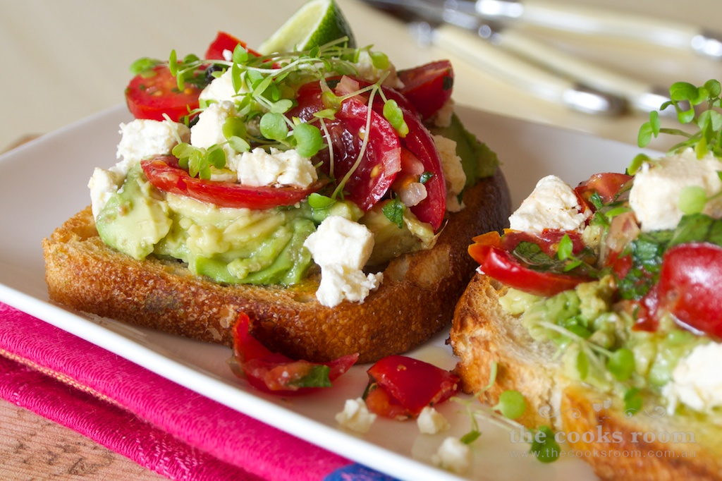 Smashed Tomato Avocado & Feta Tartine